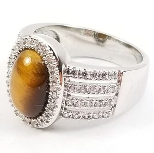 Esposito Diamonique Sterling Tiger's Eye Ring